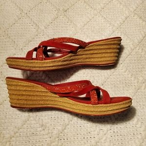 Shoes - **5/25** Red Sequined Sandal Wedges
